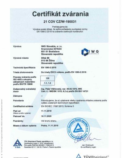 certifikát zvárania